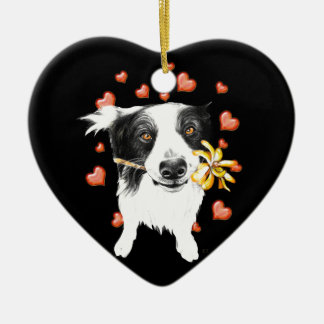 cute collie ceramic ornament