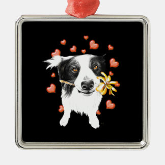 cute collie metal ornament