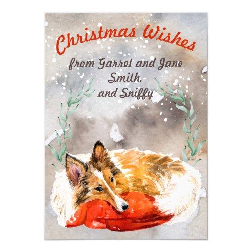 Cute Collie on snowy Christmas watercolor custom Invitation