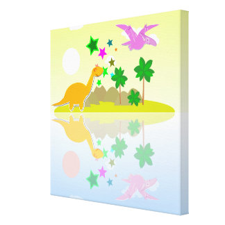 Cute Color Cartoon Dinosaurs Island Wrapped Canvas