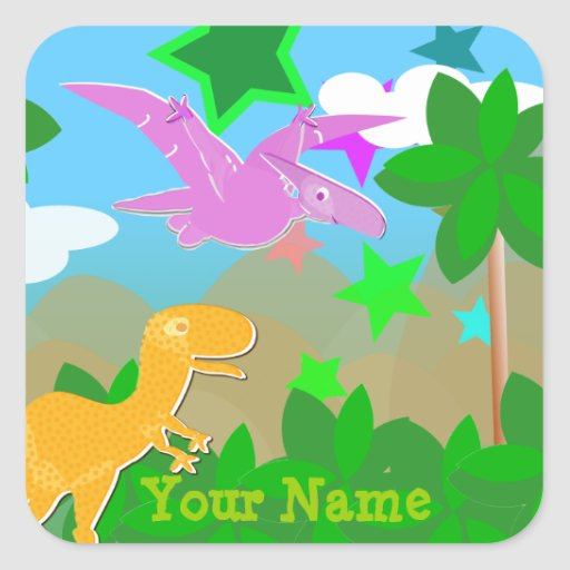 Cute Color Cartoon Dinosaurs Name Stickers