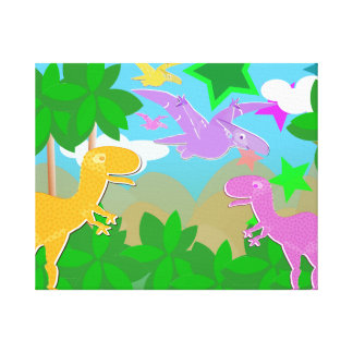 Cute Color Cartoon Jungle Dinosaurs Wrapped Canvas
