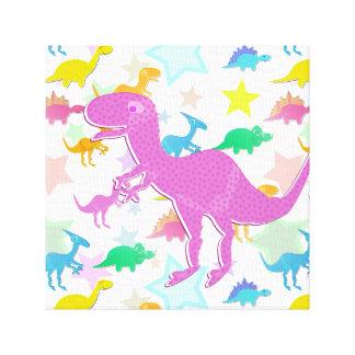 Cute Color Dinosaur Wrapped Canvas Canvas Prints