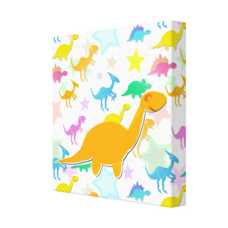Cute Color Dinosaurs Wrapped Canvas