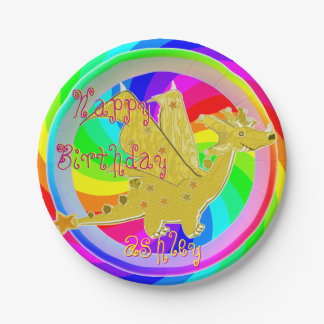 Cute Color Dragon customizable Name 7 Inch Paper Plate
