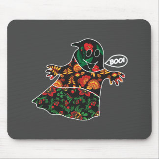 Cute color floral ghost with boo Halloween Mouse Pad