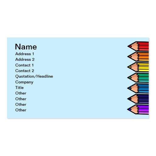 Cute color pencils business cards