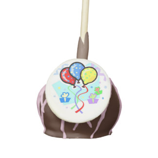 cute colored balloons and gifts cake pops