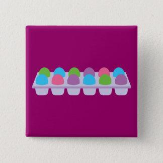Cute Colored Eggs in Carton Pinback Button