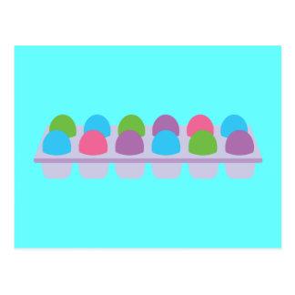 Cute Colored Eggs in Carton Postcard
