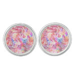 Cute colorful abstract flowers cufflinks