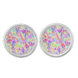 Cute colorful abstract flowers patterns cufflinks