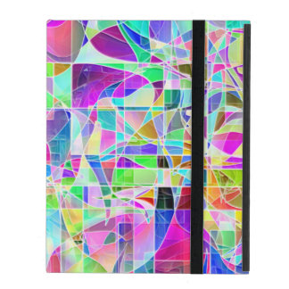 Cute colorful abstract geometric fragments design iPad case