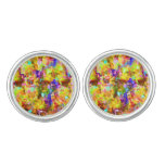 Cute colorful abstract paint cufflinks