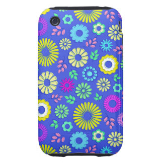 Cute colorful and blue summer flowers tough iPhone 3 covers