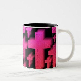 Cute colorful and bright Christian crosses Two-Tone Coffee Mug