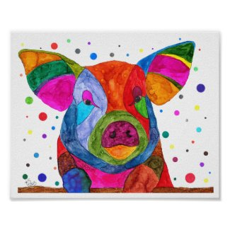 Cute, Colorful and Funny Pig Poster 10