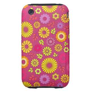 Cute colorful and pink summer flowers iPhone 3 tough case