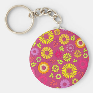 Cute colorful and pink summer flowers keychain