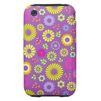 Cute colorful and purple summer flowers iPhone 3 tough case