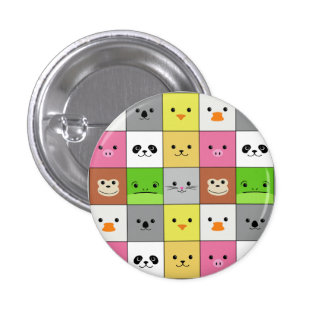 Cute Colorful Animal Face Squares Pattern Design 1 Inch Round Button