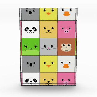 Cute Colorful Animal Face Squares Pattern Design Acrylic Award