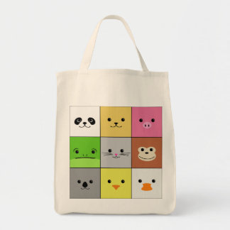Cute Colorful Animal Face Squares Pattern Design Bag