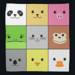 """Cute Colorful Animal Face Squares Pattern Design Bandana<br><div class=""""desc"""">Cute and happy animal faces with smiles and shiny black eyes in a pattern of squares. Includes panda bear,  dog,  pig,  frog,  cat,  monkey,  koala,  chicken,  and duck. An original digital art design.</div>"""