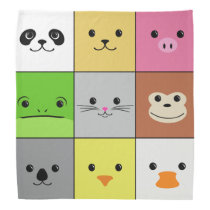 Cute Colorful Animal Face Squares Pattern Design Bandana