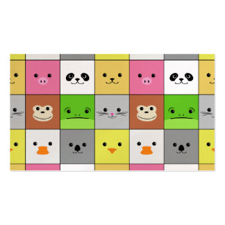 Cute Colorful Animal Face Squares Pattern Design Business Card