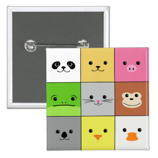 Cute Colorful Animal Face Squares Pattern Design Pinback Button