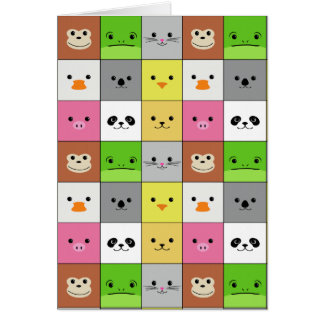 Cute Colorful Animal Face Squares Pattern Design Card