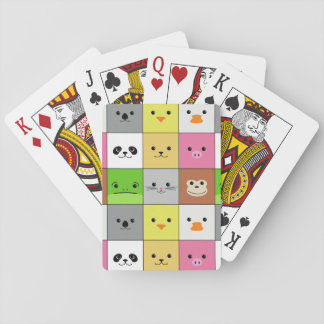 Cute Colorful Animal Face Squares Pattern Design Card Decks