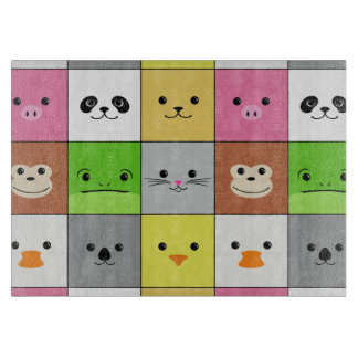 Cute Colorful Animal Face Squares Pattern Design Cutting Board