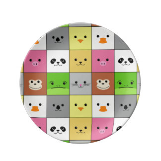 Cute Colorful Animal Face Squares Pattern Design Dinner Plate
