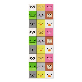 Cute Colorful Animal Face Squares Pattern Design Double-Sided Mini Business Cards (Pack Of 20)
