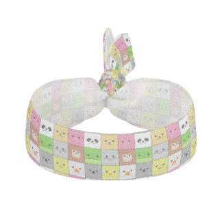 Cute Colorful Animal Face Squares Pattern Design Elastic Hair Tie