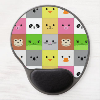 Cute Colorful Animal Face Squares Pattern Design Gel Mouse Pad