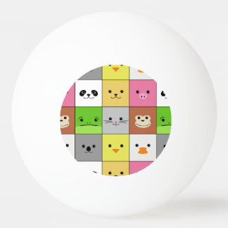 Cute Colorful Animal Face Squares Pattern Design Ping Pong Ball