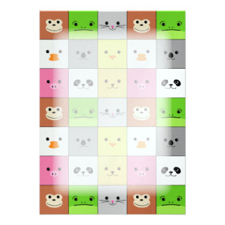 Cute Colorful Animal Face Squares Pattern Design Announcement