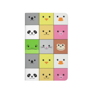 Cute Colorful Animal Face Squares Pattern Design Journal