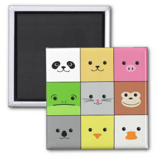 Cute Colorful Animal Face Squares Pattern Design Magnet
