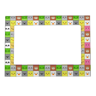 Cute Colorful Animal Face Squares Pattern Design Magnetic Frame