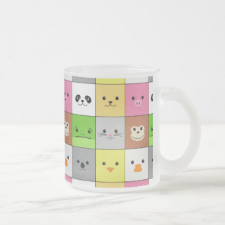 Cute Colorful Animal Face Squares Pattern Design 10 Oz Frosted Glass Coffee Mug
