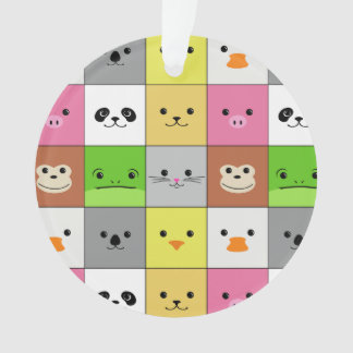 Cute Colorful Animal Face Squares Pattern Design Ornament