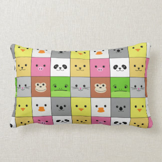 Cute Colorful Animal Face Squares Pattern Design Throw Pillows
