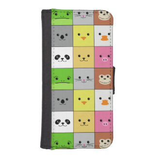 Cute Colorful Animal Face Squares Pattern Design iPhone 5 Wallet