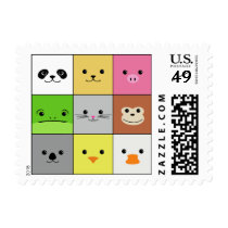 Cute Colorful Animal Face Squares Pattern Design Postage