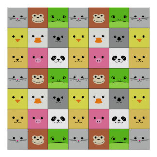 Cute Colorful Animal Face Squares Pattern Design Poster