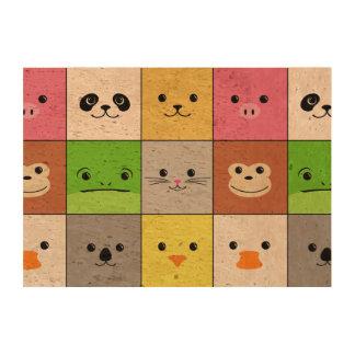 Cute Colorful Animal Face Squares Pattern Design Cork Paper Prints